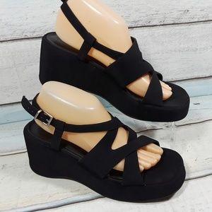 Nine west Women Black Platform Strappy Sandals 9.5